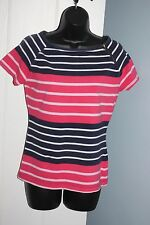 Tommy Hilfiger Top T-Shirt White Pink Navy Blue Stripe Sz S 8-10 Petite Zip VGC