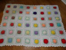 Vintage Rose Granny Square Crochet 3D Afghan Blanket Multi-color  60 x 82 READ