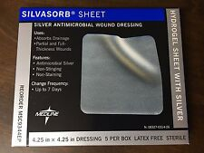 "Box of 5 MEDLINE Silvasorb 4""x4"" MSC9344EP Silver Antimicrobial Wound Dressing"