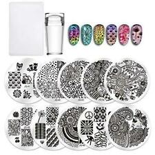 Biutee Nail Stamping Plates 10Pcs Kit with Clear Jelly Silicone Nail Art Stamper