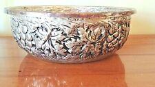 "Vtg Hammered Aluminum Bowl 10"" Grapes Grapevine Flower Motif Shabby Decor Patina"