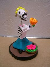 Day of the Dead Skeleton Clay Dog Flower Vendor - Mexico