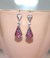 Vintage German glowing Ruby red Aurora Borealis sugar glass silver earrings