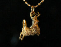 * Deer Running 24 kt Gold  ++ FREE 18 kt Chain * Made in the USA * Artist Design