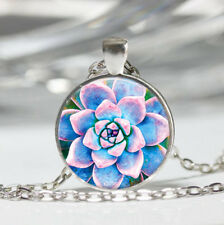 Succulent photo Tibet silver dome Glass Cabochon Necklace chain Pendant #479