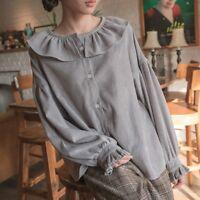 Lady Corduroy Ruffles Shirts Retro Lolita Blouse Puff Sleeve Tops Casual Loose