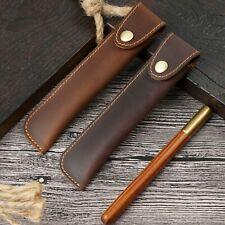 Handmade Cowhide Leather Vintage Pen Case Bag Students Stationery Storage Bag