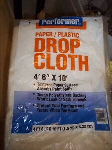"""NOS PERFORMER PAPER PLASTIC DROP CLOTH 4'6"""" X 10' TEXTURED PAPER SURFACE"""