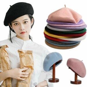 Retro Vintage Women Girls Beret French Artist Wool Beanie Hat Ladies Plain Beret
