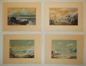 4 Antique 1869 Realism Watercolor Seascape Paintings by E.N. Cruse England