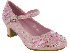Diamante Glitter Wedding Party Shoes Bridesmaids Kids Girls Mary Jane Low Heels