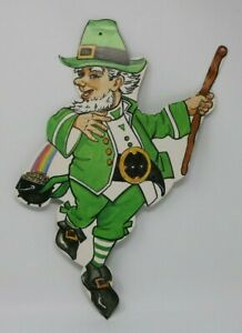 Vintage St. Patricks Day Spring Leprechaun Decoration Die-Cut Wall Covering HTF
