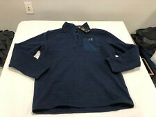 NWT $80.00 Under Armour CG Mens Specialist Henley Snap Mock Sweater Navy MEDIUM