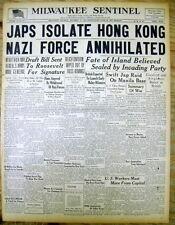 1941 WW II headline display newspaper JAPAN on verge of CAPTURE of HONG KONG