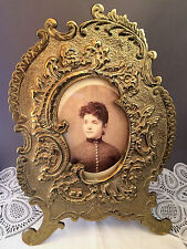 Antique Old Solid Brass Metal Free Standing Table Top Victorian Picture Frame