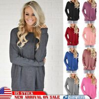 Women's Long Sleeve Round Neck Pullover Casual Blouse Tops T Shirt Autumn Pocket