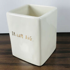 "Rae Dunn ""Dream Big"" Ceramic Pen Pencil Holder Desk Accessory Gold Letters NICE"