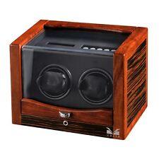 VOLTA Automatic Double 2 Dual Watch Winder Wood Ebony Storage Box Case NEW