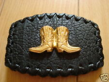 Western Two Boots Belt Buckle Cowboy Rodeo Leather