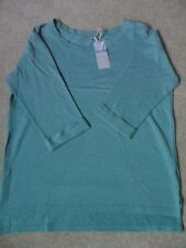 EX M&S MINT GREEN MARL 3/4 SLEEVE SLASH NECK POLYCOTTON EASY CARE TUNIC TOP  12