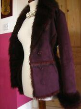 Ladies OASIS FAUX FUR suede SHEEPSKIN COAT UK 10 8 teddy furry red penny lane