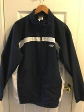 Reebok 1990s Vintage Windbreaker Track Jacket Mens Navy Blue white Size Med.
