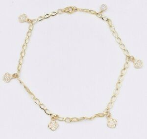 """Clover Flower CZ Disc Charm Anklet Chain Real 10K Yellow Gold 10"""""""