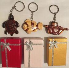 Lot (3) Carver Dan's Handmade Wooden Keychains - Fish, Turtle & Tree Frog *New*