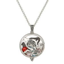 """V1268 Antique Silver Perfume Pad Diffuser Animal Bird Charm Necklace 20"""""""