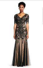 Adrianna Papell Sz 10 Black Floral Beaded Gown NWT Short Sleeve MSRP $409