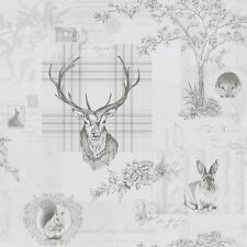 Richmond Charcoal Grey Stag Wallpaper by Holden K2 Tartan and Wildlife 98013