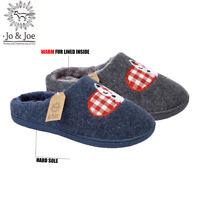 Womens ladies winter fur lined fox gingham snug slippers mules size 3 4 5 6 7 8