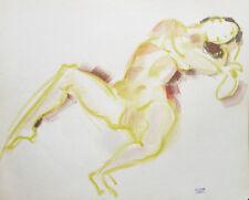 Dessin pastel de Jean CLUSEAU-LANAUVE (1914-1997) Femme nue cubiste (3)