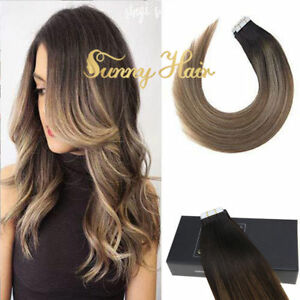 Sunny 50g Tape in Hair Extensions Remy Quality Human Hair Balayage Brown #2/6/22