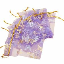 100pcs Butterfly Drawstring Organza Wedding Gift Jewellery Candy Pouch Bags N3