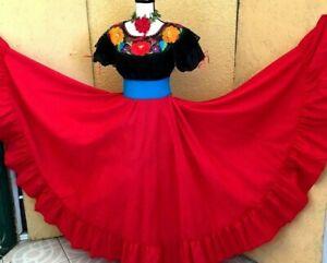 Mexican Black/Fuchsia Folkloric Dance Dress 3 pc Double wide Peasant  Vtg all Sz