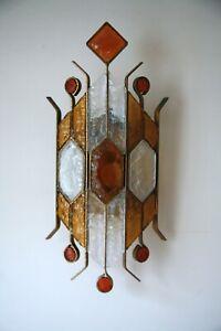Rare Original Retro Vintage 1970s Brutalist Modernist Glass Wall Light Lamp 54cm