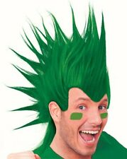 Peluca de pelo mohawk verde Fancy Dress Costume fútbol adultos Punk