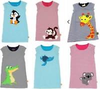 Girls dress summer t-shirt  applique organic cotton age 2 4 6  animal blue pink