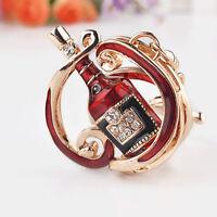 EE_ FM- Cute Wine Bottle Rhinestone Keychain Key Ring Bag Hanging Ornament Penda