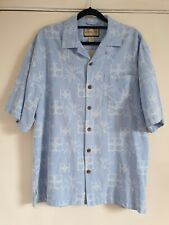 JAMAICA JAXX Mens 100% Blue SILK HAWAIIAN SHIRT Size M