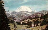 Chrome WA Postcard C713 Mount Mt Rainier National Park Tipsoo Lake Washington