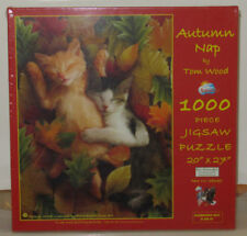 SunsOut AUTUMN NAP Cat Cats Kittens 1000 Piece Jigsaw Puzzle Tom Wood 28639