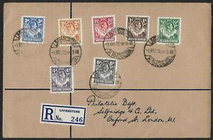 Northern Rhodesia 1938 sg 25,7,9,31,4,6&8 FDC LV Definitives LIVINGSTONE 1 Mar