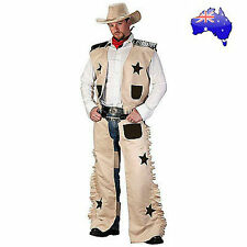 Mens Adult Cowboy Wild West Sheriff Gunslinger Texas Rodeo Fancy Dress Costume
