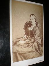 Cdv old photograph woman dog on lap by Vick at Ipswich c1880s