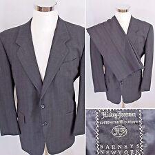 """HICKEY FREEMAN """"London"""" BARNEY'S Gray 2 Button Striped Wool Suit 41 S - 31 X 28"""