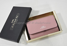 With Gift Box Coach 54435B Leather Phone Clutch/Wallet/Wristlet in Pink /Silver