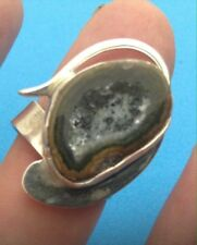 Ring Moderistic 7 1/2 Ring Size Taxco 925 Sterling Silver Lupita Barrera Geod