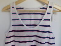 NWT Gap Women's Easy Tank Top Round Hem White/Blue/Pink Stripe Small NEW